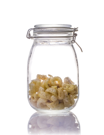 Pork rinds or deep Fried pork skin snack, Thai food in canning jar on a white background Stock Photo