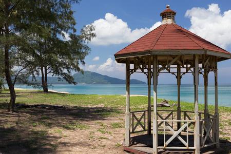 phuket province: Old garden pavilion on the beach under the pine tree at Phuket province,Thailand