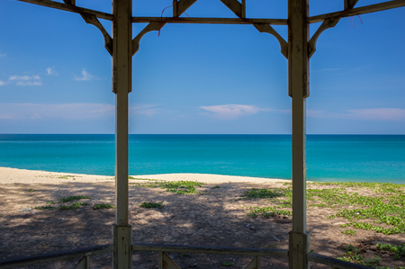 phuket province: Old wooden terrace with a view of a tropical beach at Phuket province, Thailand