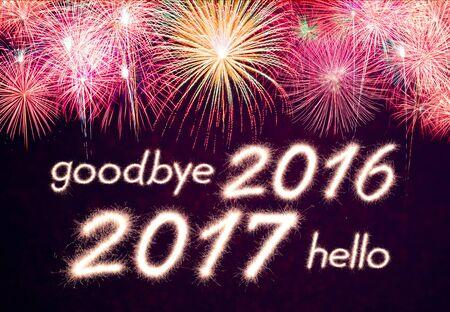 goodbye 2016 hello 2017 written from Sparkle firework with  firework background