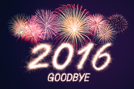goodbye 2016 written from Sparkle firework with  firework background