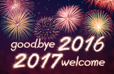 goodbye 2016 welcome 2017 written from Sparkle firework with  firework background