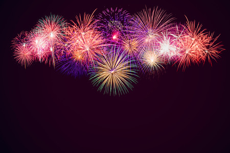 brightly: Brightly Colorful Fireworks background Stock Photo