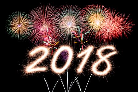 firecracker: 2018 written with Sparkle firecracker and firework
