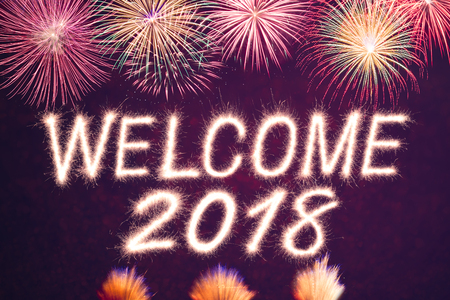 pyrotechnics: Welcome 2018 written from Sparkle firework with firework background