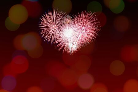 Brightly Colorful Fireworks background Stock Photo