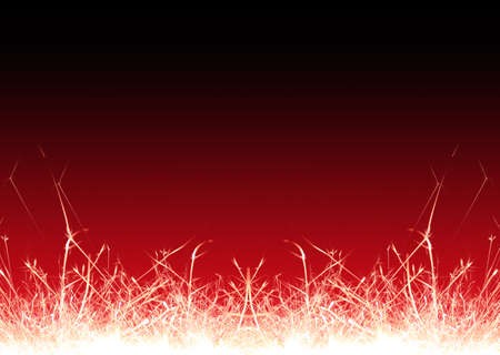 glow pyrotechnics: burning christmas sparklers isolated on red background