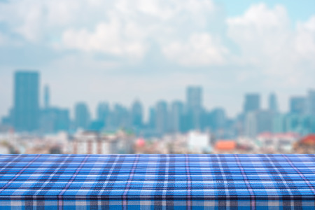 Wood Empty table with blurred abstract background of city downtown cityscape