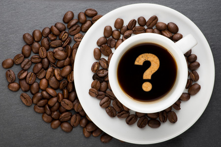 food questions: Cup of coffee with interrogation point with bean