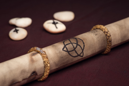 runes: Clairvoyance equipment with parchment on dark desk