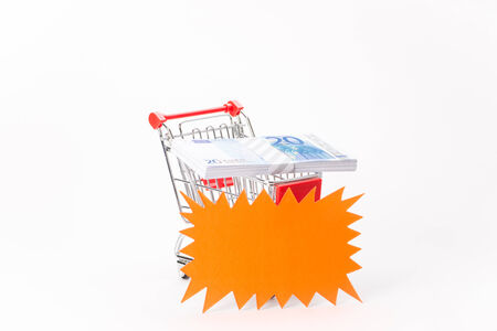 Caddy for shopping  with money stack on white background photo