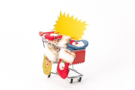 caddie: Caddy for shopping  with christmas socks on white background