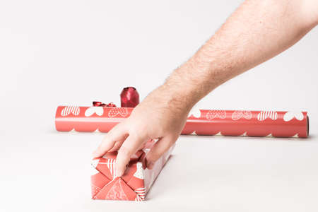 Stage for a gift with red paper photo