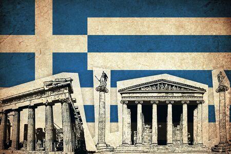 グランジ ギリシャ フラグギリシャ語国記念碑で 写真素材