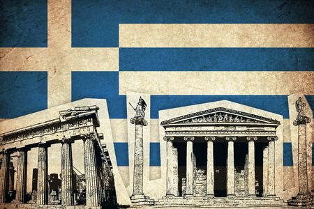 Grunge Flag of Greece  Greek country with monument