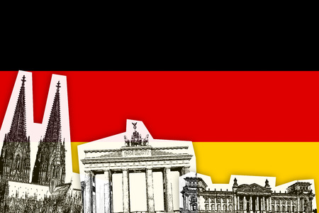 country flags: Flag of Germany  German country with monument