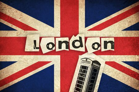 Flag of United Kingdom England country with phone box Stock Photo