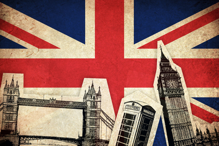 モニュメントにイギリス イギリス国の旗 写真素材