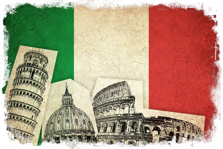 monuments: Flag of Italy grunge illustration italian country with monuments