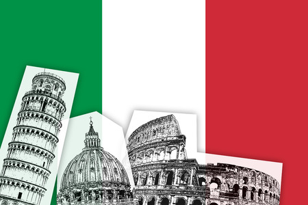 monuments: Flag of Italy illustration italian country with monuments