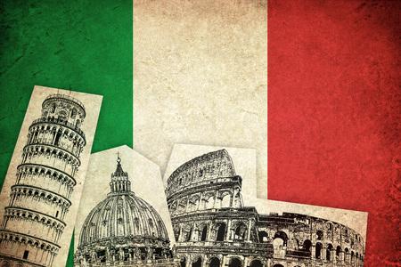 bandera italiana: Bandera de Italia grunge ilustración país italiano con monumentos Foto de archivo