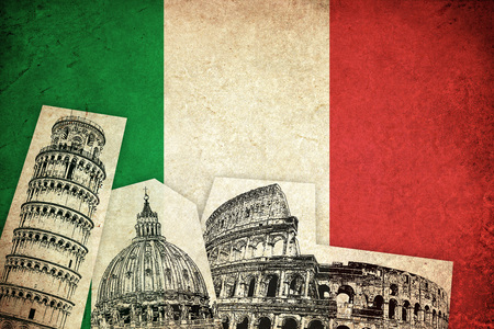Flag of Italy grunge illustration italian country with monuments