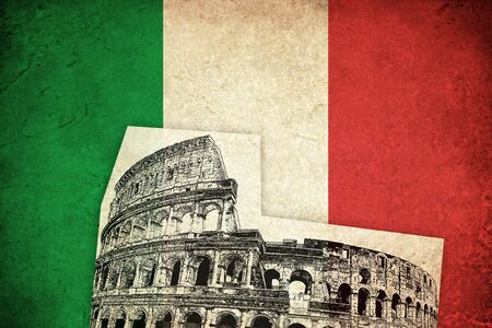 colosseum: Grunge Flag of Italy with Colosseum illustration italian country