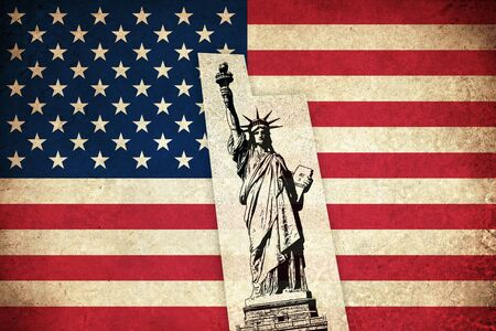 monuments: Grunge Flag of USA  United states of America country with monuments