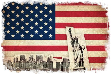 old new york: Grunge Flag of USA  United states of America country with monuments