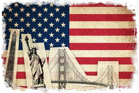 old and new: Grunge Flag of USA  United states of America country with monuments