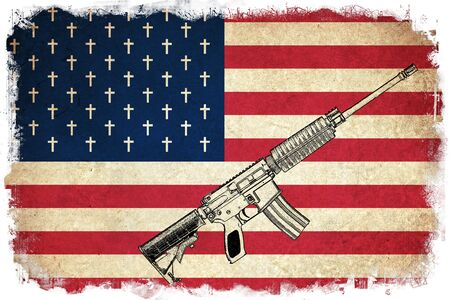 amendment: Death Flag of USA  United states of America country with guns