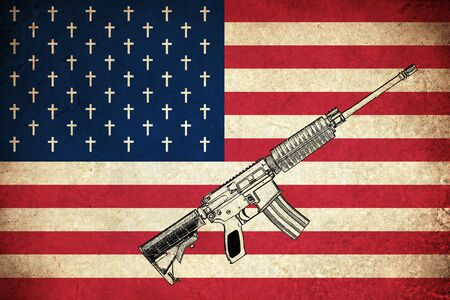 gun: Death Flag of USA  United states of America country with guns