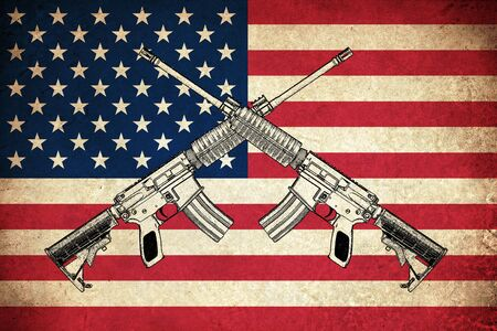 firearm: Grunge Flag of USA  United states of America country with guns Stock Photo