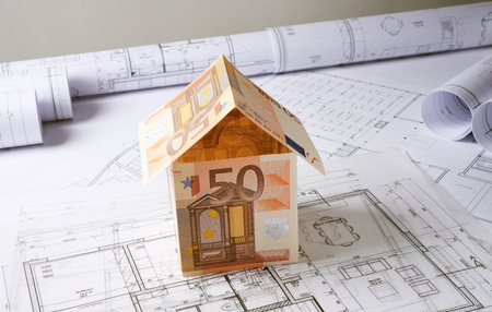 Architecture plans and sketch of house project with money house