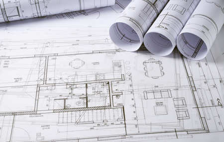 건축 계획 및 주택 프로젝트의 스케치 스톡 콘텐츠