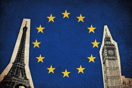 had: European Union flag grunge illustration of country with monuments