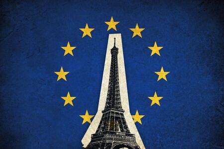 monuments: European Union flag grunge illustration of country with monuments