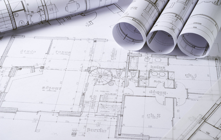 Architecture plans and sketch of house project