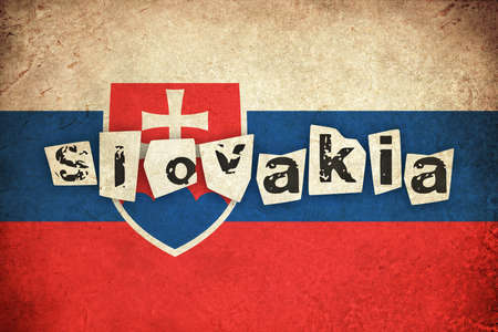 Slovakia grunge flag background illustration of european country with text