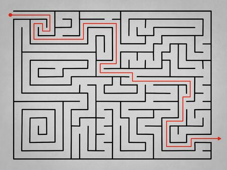 complex: Grey complex labyrinth with solution in red