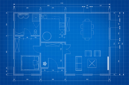 architectural plan: Blueprint of architect plan for personnal house construction