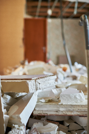 earthquake crack: Destroyed home for demolition
