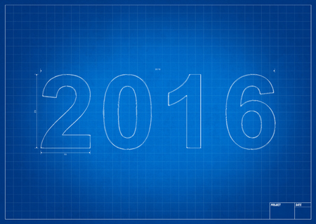 background design: Architect blueprint for 2016 new year with mesure and lines Stock Photo