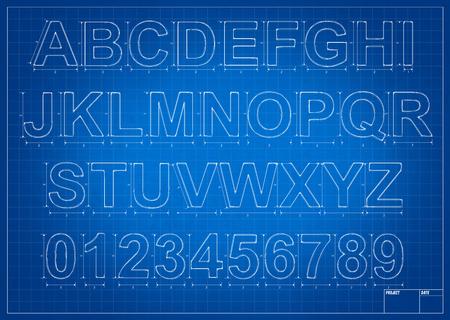 mesure: Architect blueprint alphabet letters with mesure and lines