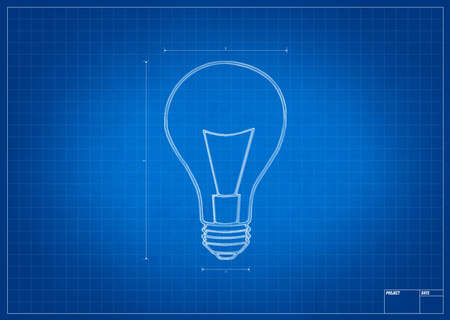 mesure: Architect blueprint with electric bulb and mesure lines