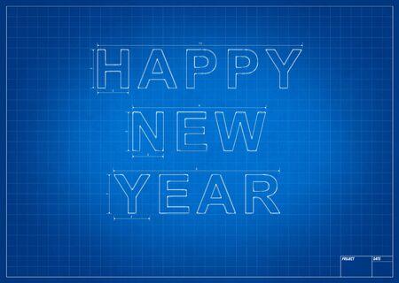 建築家の青写真幸せな新年をはかって、行 写真素材