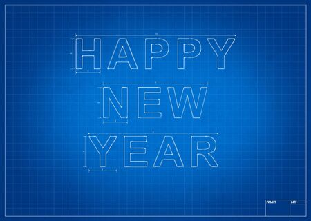 mesure: Architect blueprint happy new year with mesure and lines