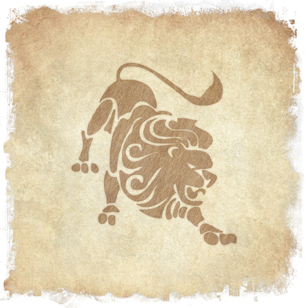esoterism: Horoscope zodiac sign Leo on grunge background Stock Photo