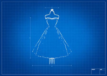 blueprint: Fashion sketch on blueprint with mesure tool Stock Photo