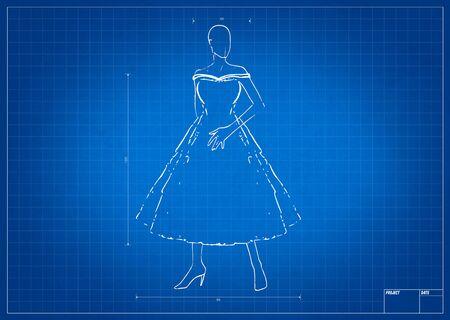 mesure: Fashion sketch on blueprint with mesure tool Stock Photo
